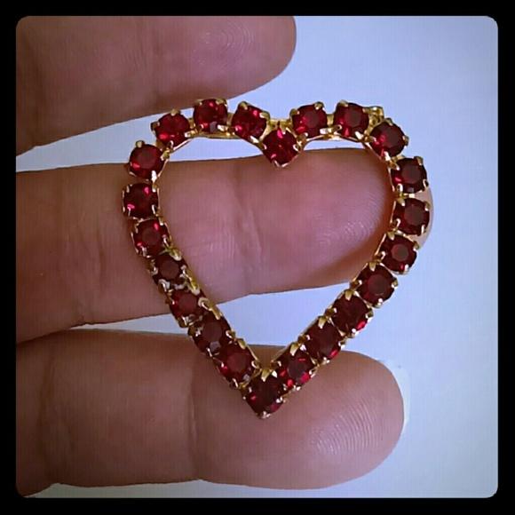 9d0140875e74a Vintage Jewelry   Red Rhinestone Heart Brooch Pin   Poshmark